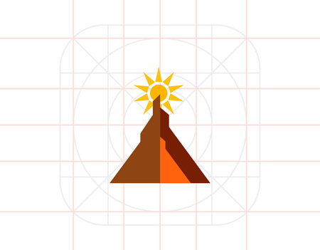 Multicolored vector icon of sun shunning behind mountain