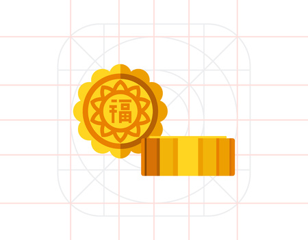 asian family: Multicolored vector icon of traditional Chinese baked mooncakes