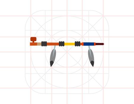 peace pipe: Native American Peace Pipe Icon