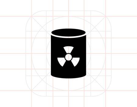 radioactive tank and warning sign: Nuclear waste barrel Illustration