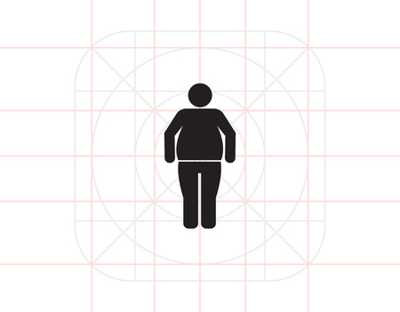 Icono del vector de la silueta del hombre de pie obesos