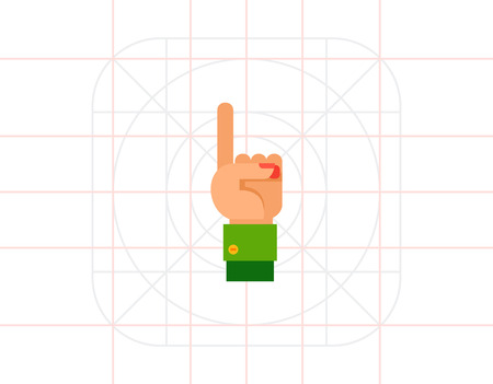 Illustration of left hand with one finger up. Hand gesture, number, index finger. Hand gesture concept. Can be used for topics like hand gesture, counting, nonverbal communication Vektorové ilustrace
