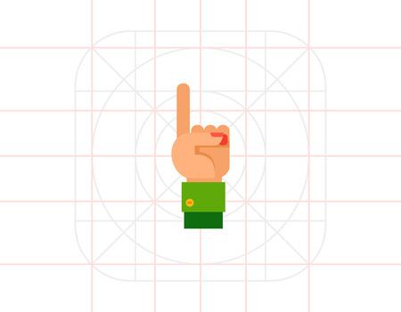 comunicacion no verbal: Ilustración de la mano izquierda con un dedo para arriba. gesto de la mano, el número, el dedo índice. concepto gesto de la mano. Puede ser utilizado para temas como el gesto de la mano, el conteo, la comunicación no verbal