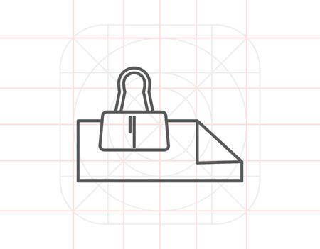 binder clip: Paper sheets with binder clip Illustration