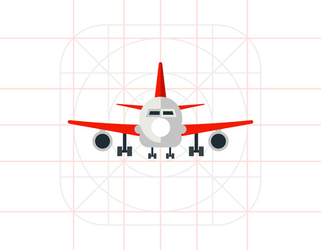 front of: Plane Front View Icon Illustration