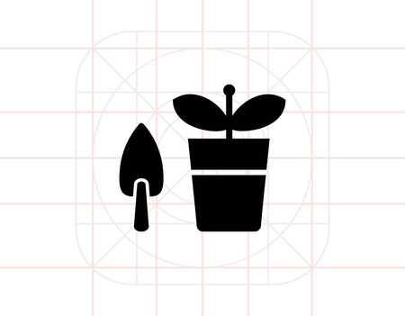 potted: Potted plant with shovel