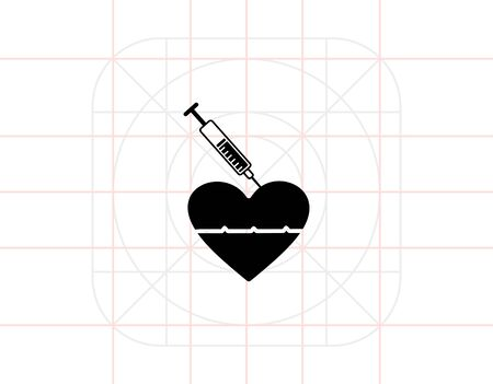 reanimation: Reanimation with Adrenaline Injection Icon Illustration