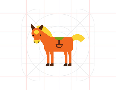 Red horse icon Illustration