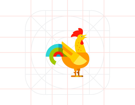 zoology: Yellow rooster with colored tail. Colorful, crest, beautiful. Rooster concept. Can be used for topics like zoology, domestic animals, astrology.