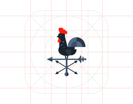 fowls: Black rooster used as wind vane. Direction, rotation, decoration. Vane concept. Can be used for topics like weather, domestic animals, construction. Illustration