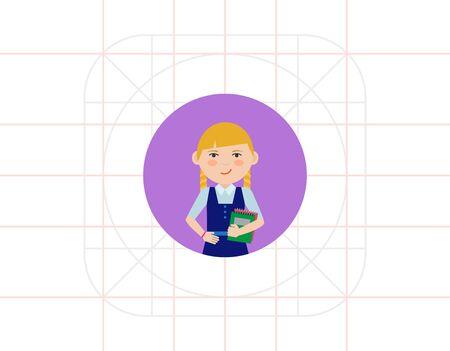 pinafore: Schoolgirl with notebooks Illustration