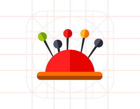 Sewing Pins in Pin Cushion Icon Illustration