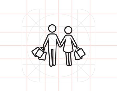 mujer en el supermercado: Compras juntas Vectores