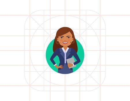 mujeres morenas: empresaria con el cuaderno sonriendo Vectores