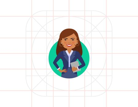 light brown hair: Smiling businesswoman with notebook Illustration