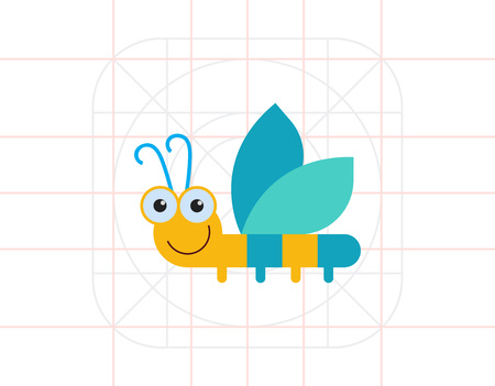 feeler: Vector icon of cute smiling cartoon dragonfly