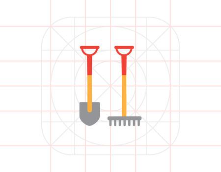 scraping: Spade and rake icon