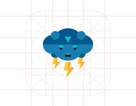 frown: Thunder Vector Icon Illustration