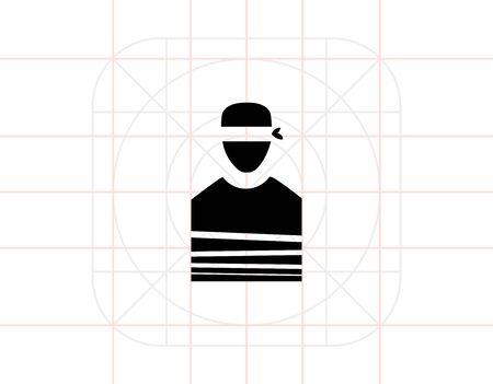 ransom: Tied Hostage with Blindfold Icon Illustration