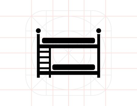 bunk: Two Bunk Bed Icon Illustration