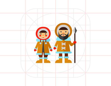 Two Eskimos icon. Illustration