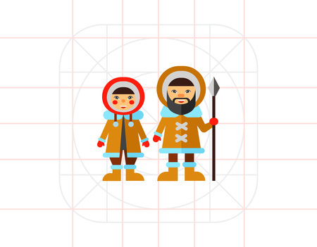 esquimales: Two Eskimos icon. Vectores