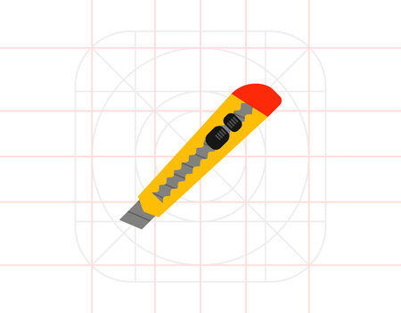 Utility knife icon Illustration