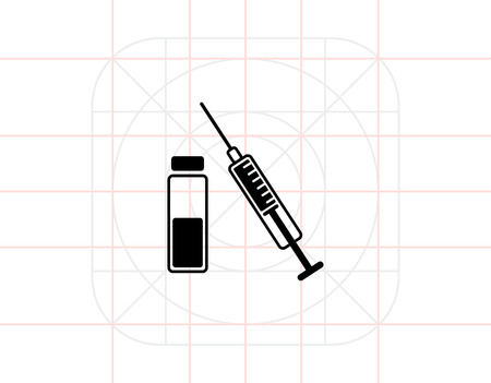 vaccination: Vaccination Concept and Syringe Icon Illustration