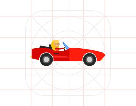 cabriolet: Woman in Cabriolet Icon