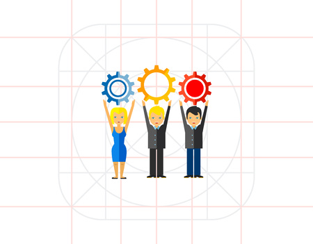 Multicolored vector icon of three people holding gears representing workforce concept Illustration