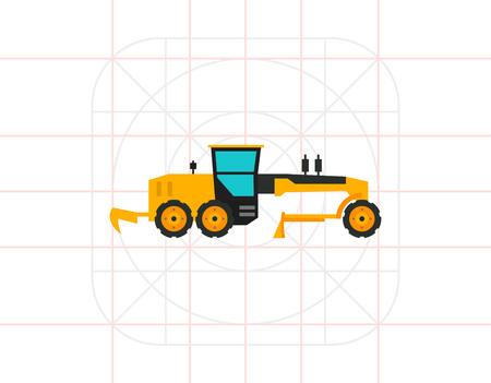 grader: Multicolored vector icon of yellow construction road grader