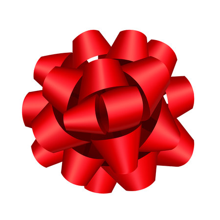 Big red bow for gift decoration. Volume bow, holiday, present. Valentines Day concept. Can be used for greeting cards, posters, leaflets and brochure