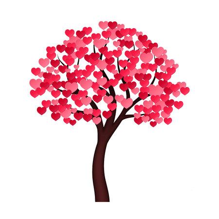 Árbol con corazones en vez de hojas