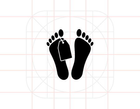 dying: Morgue Concept and Mans Feet with Tag Icon