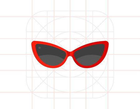 topics: Woman sunglasses. Sun, beach, protection. Sunglasses concept. Can be used for topics like summer, vacation, resorts. Illustration