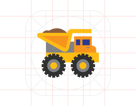 dump truck: Yellow loaded dump truck