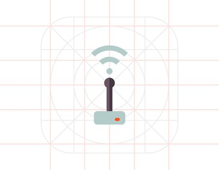 transmitting: Multicolored vector icon of wifi router transmitting signal Stock Photo