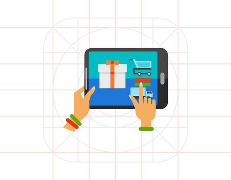 eshop: Illustration of female hands using tablet to choose gift. Woman buying gift from e-shop, technology, online shopping. E-commerce concept. Can be used for topics like Internet, commerce, shopping Stock Photo