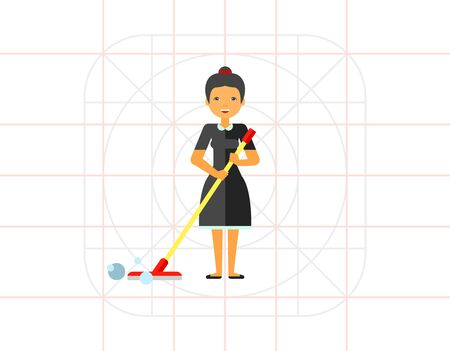 be wet: Smiling woman holding mop. Domestic, wet, bubble. Cleaning concept. Can be used for topics like housekeeping, cleaning, marketing.