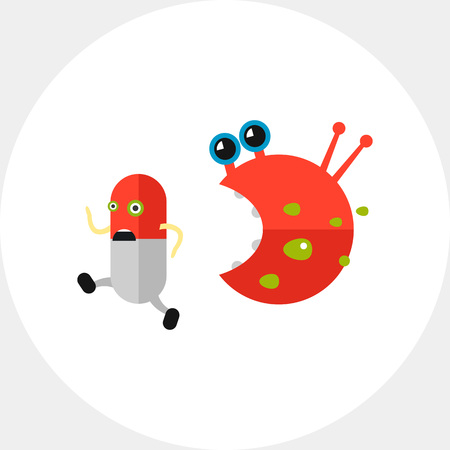 Antibiotic Running from Bacteria Icon