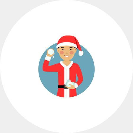 palle di neve: Asian boy holding snowballs