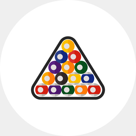 game of pool: Multicolored vector icon of billiard balls in triangle