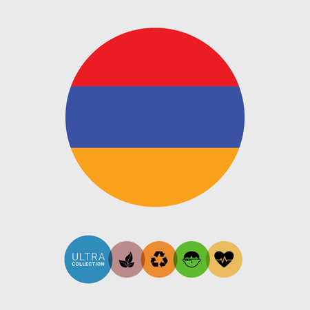 Set of vector icons with Armenia flag