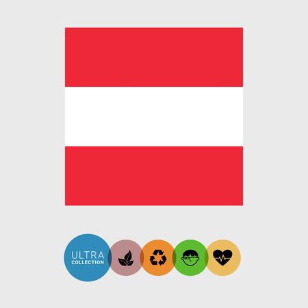 attribute: Set of vector icons with Austria flag Illustration