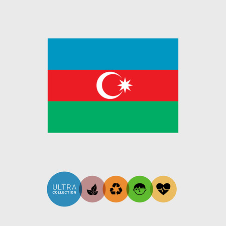 Set of vector icons with Azerbaijan flag