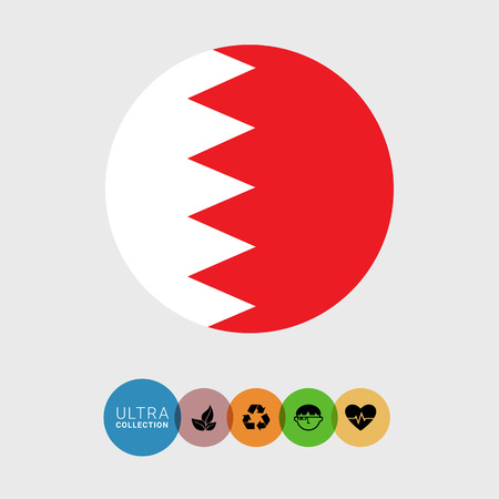 features: Set of vector icons with Bahrain flag