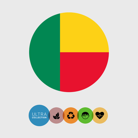 attribute: Set of vector icons with Benin flag Illustration