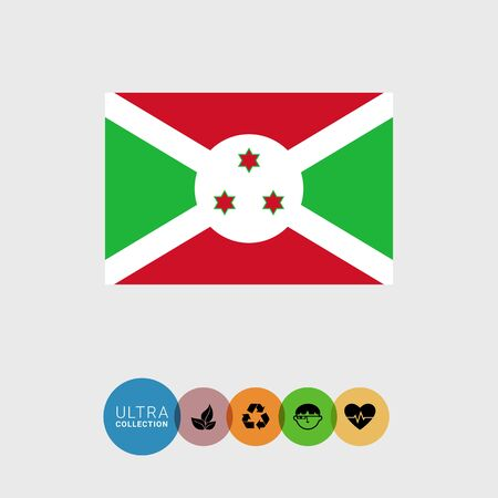 Set of vector icons with Burundi flag