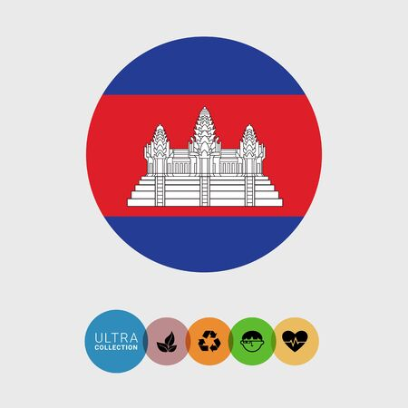Set of vector icons with Cambodia flag Illustration