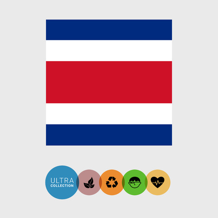 Set of vector icons with Costa Rica flag
